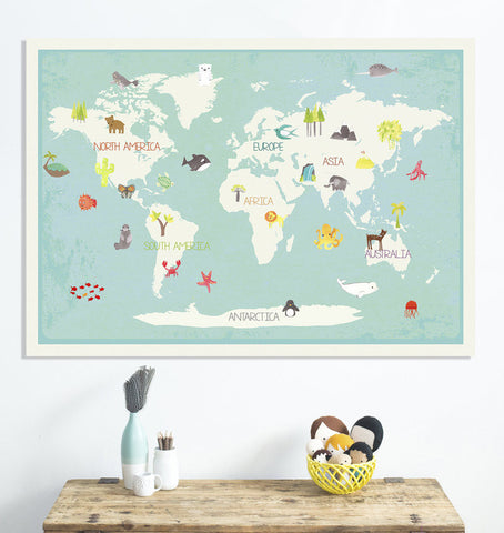 Our Earth Interactive Map, Canvas or Print, Educational, Travel, Inspirational