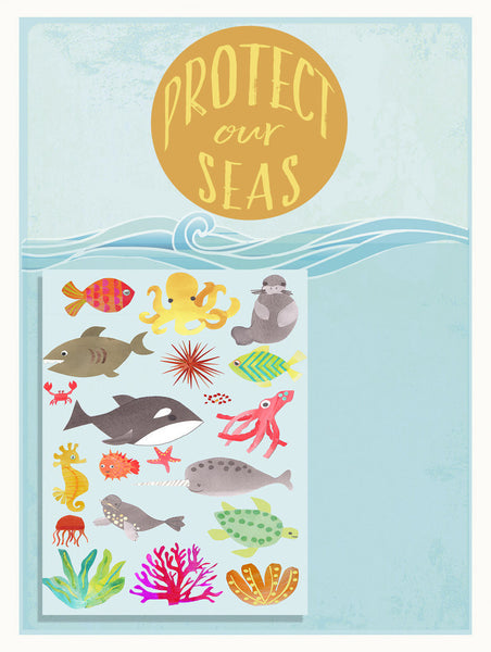Protect Our Seas 18 x 24 Print + 20 Stickers, Travel, Educational, Playroom Decor