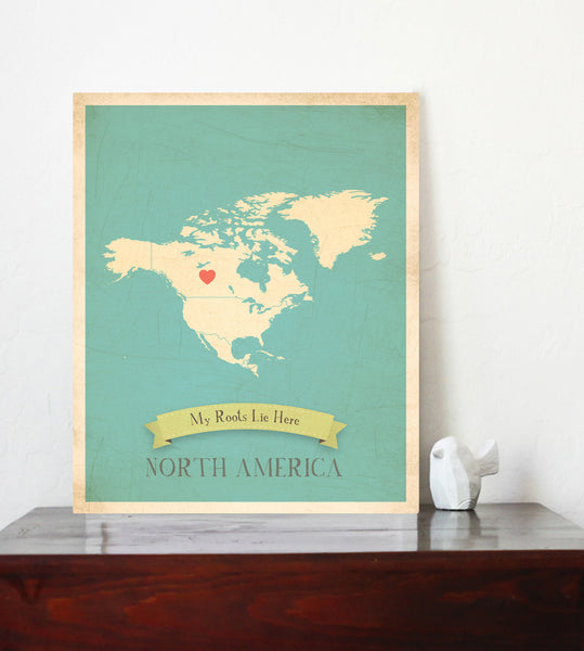 My Roots Personalized Country Maps Canvas, Educational, Playroom Decor