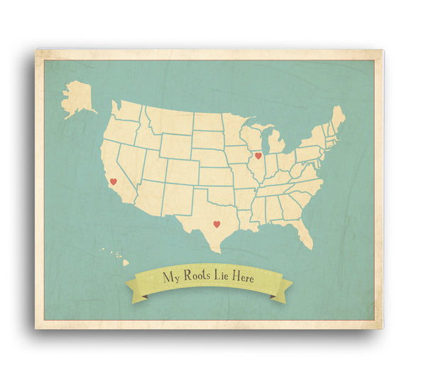 My Roots USA Customizable Map, Canvas or Print, Travel, Inspirational