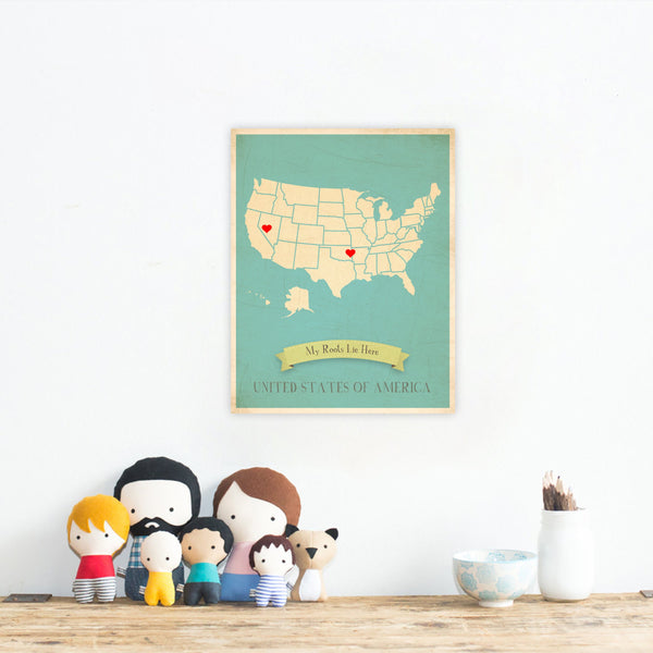 My Roots Personalized Country Maps Print, Educational, Playroom Decor