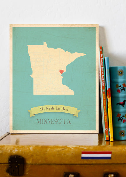 My Roots Minnesota Map Wall Art Print