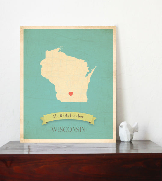 My Roots Wisconsin Map Wall Art Print