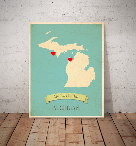 My Roots Canvas Personalized State Maps, Educational, Playroom Decor
