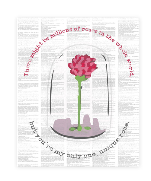 Print or Canvas, Little Prince Upcycled Like Art - Rose