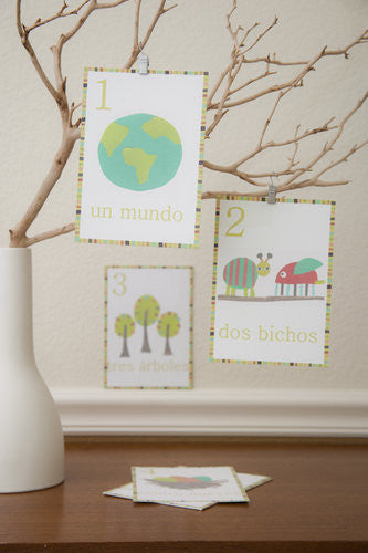 Multi Language Number Wall Cards Spanish