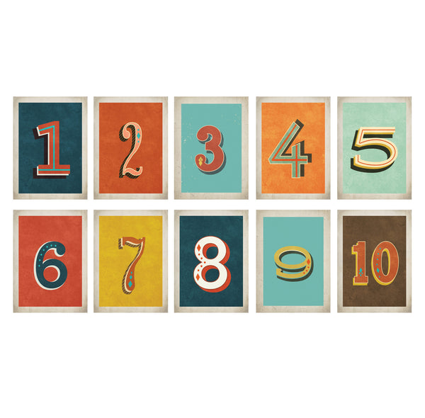 Vintage Number 5 x 7 Wall Card Digital Download Printable