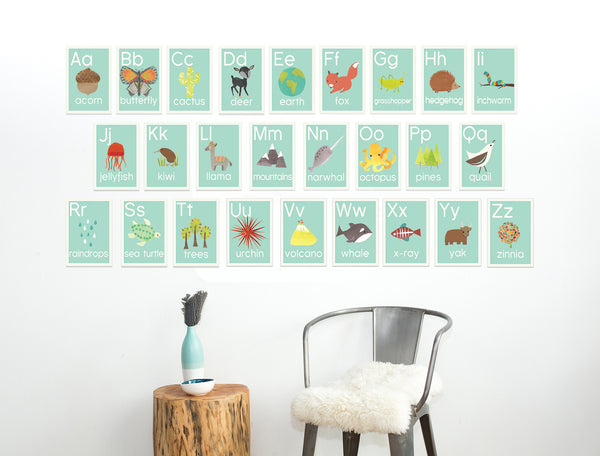Nature Alphabet Wall Cards in English