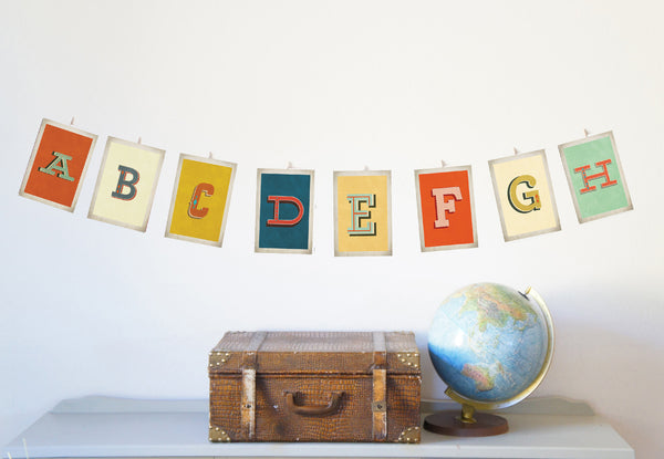 Vintage Alphabet 5 x 7 Wall Cards Digital Download Printable