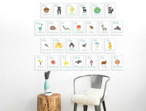 Our World Alphabet 5 x 7 Wall Cards in English or Spanish