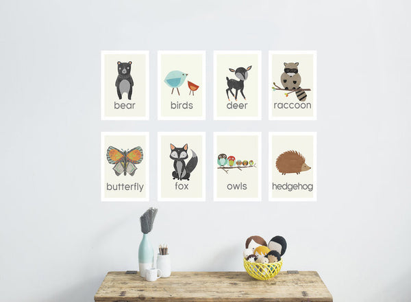 Nature Animal Mini Print Set of Eight 5 x 7 Wall Cards in English, Spanish or Dutch