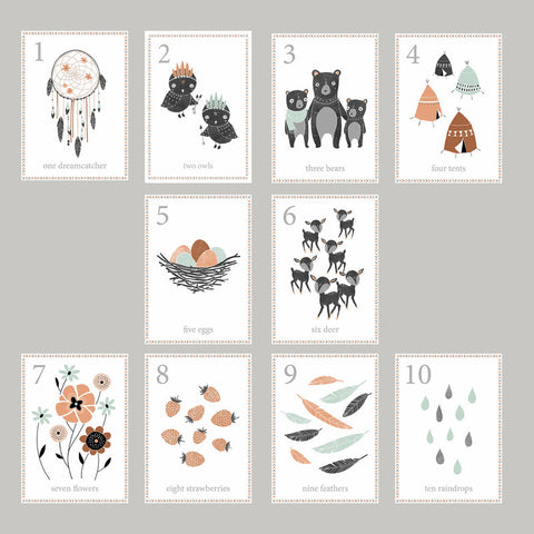 Boho Woodland Number Wall Cards