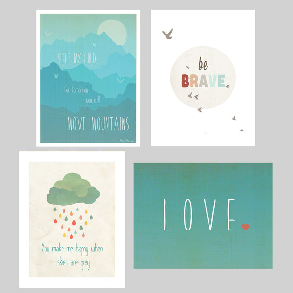 "Happiness Mini Collection Prints, 5"" x 7"", Set of 4, Motivational Art, Inspirational Quotes"