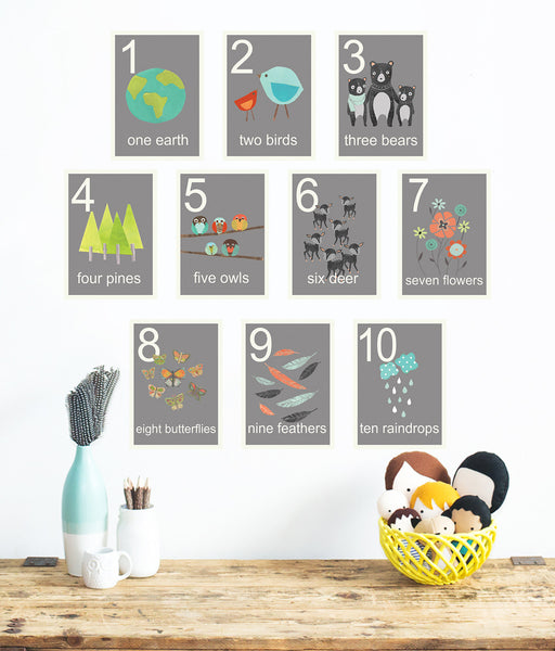Our World Grey Nature Number Cards in English, Spanish or Dutch - Set of Ten 5 x 7 Cards
