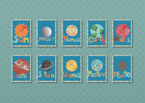 Solar System Planet Wall Cards - Set of Ten 5x7 Wall Art