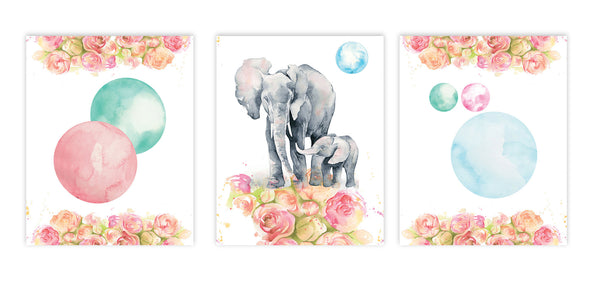 Print or Canvas, Elephant Watercolor Collection, Set Of 3