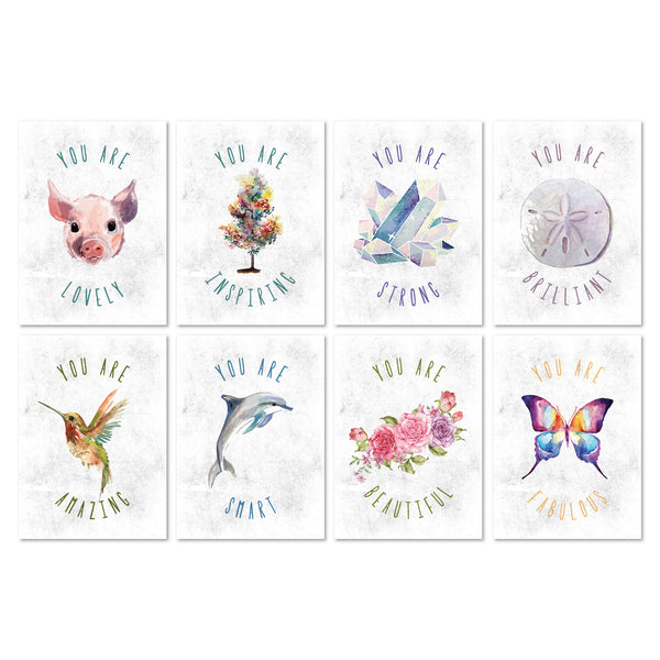 You Are Mini Collection Animals Watercolor, Set Of 8 5x7 Paper Prints
