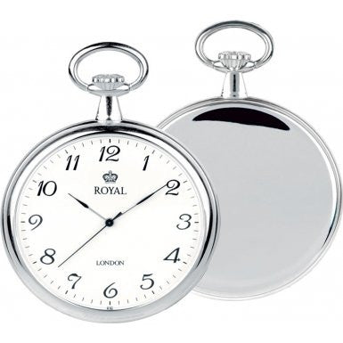 Mens Quartz Pocket Watch Stainless Steel PVD Plated Open Face
