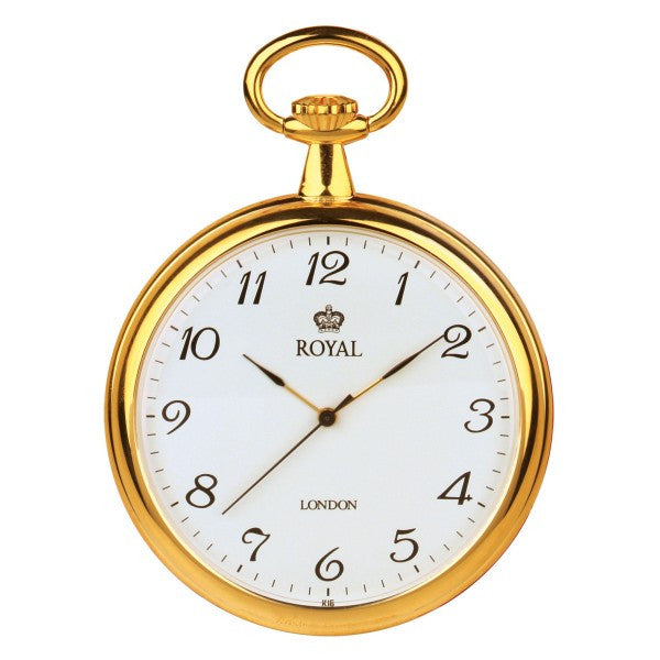 Mens Quartz Pocket Watch Gold Tone Brass Case - Open