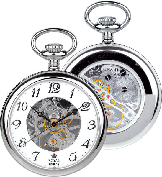 Mens Skeleton Mechanical Movement Pocket Watch - Silver Tone