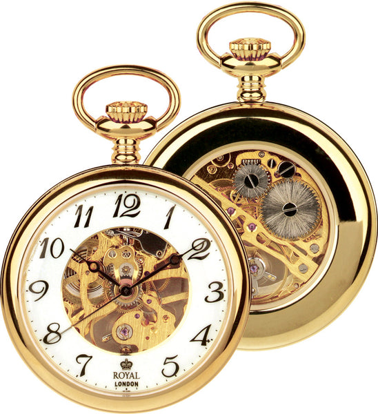Mens Skeleton Mechanical Movement Pocket Watch - Gold Tone