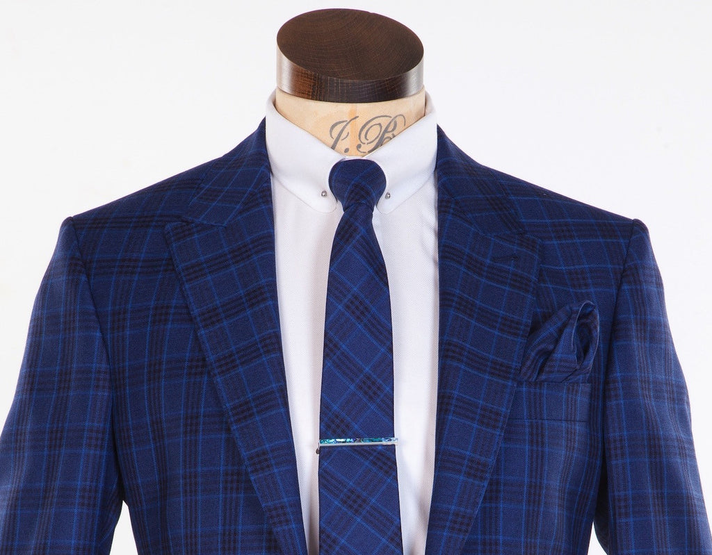 Fine and Dandy Blue Tie - Silk and Wool Check Neckwear