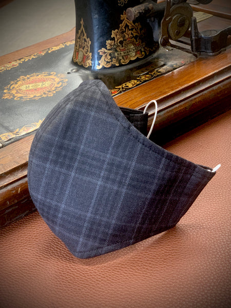 Gentleman's Face Covering (Face Masks) - Silk and Wool Bold Grey Check