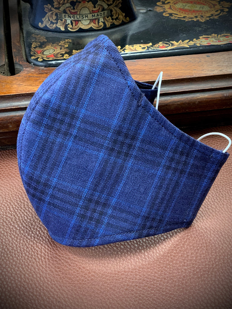Gentleman's Face Covering (Face Masks) - Silk and Wool Bold Blue Check