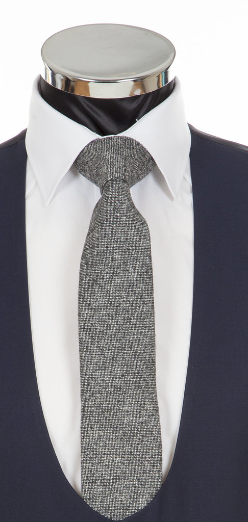 Grey Donegal Tweed Tie - Fine Lambswool from Abraham Moon Mill