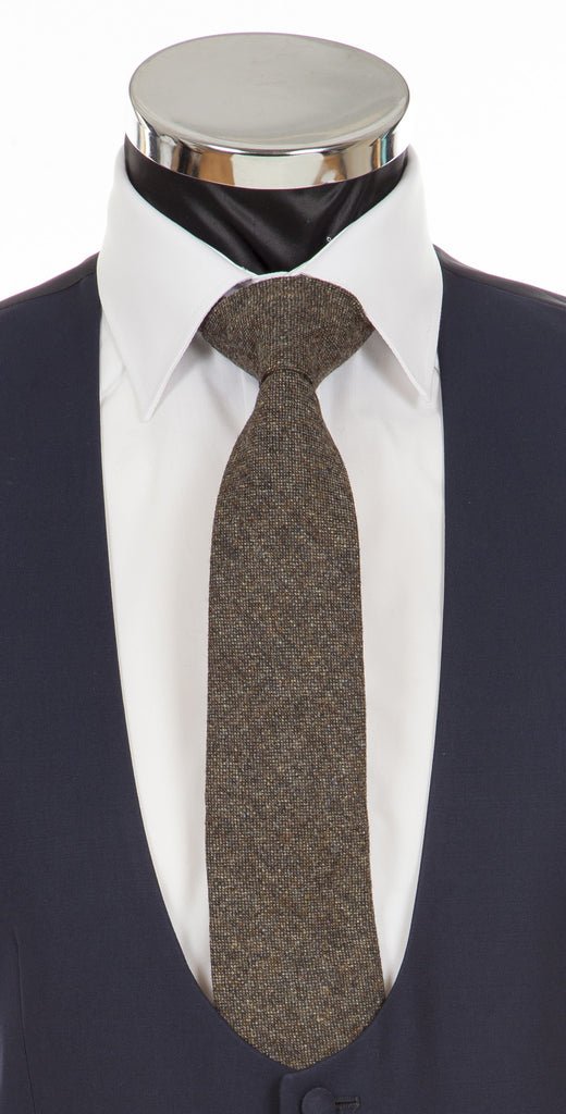 Brown Donegal Tweed Tie - Fine Lambswool from Abraham Moon Mill