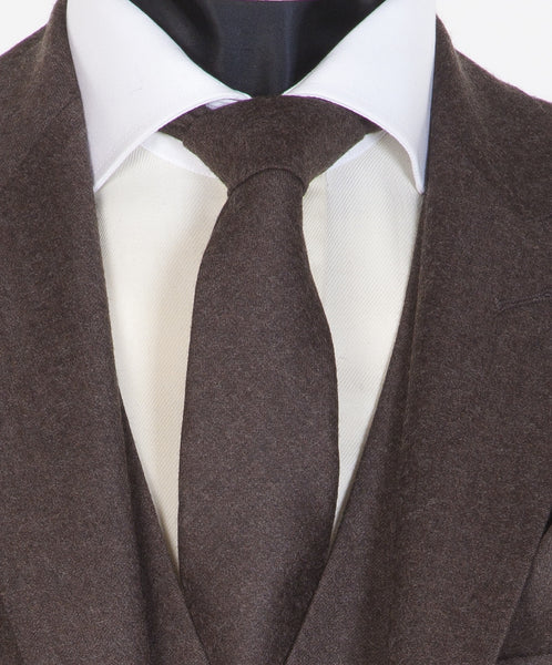 Brown Newbury Tie - Brown Flannel Wool Neckwear