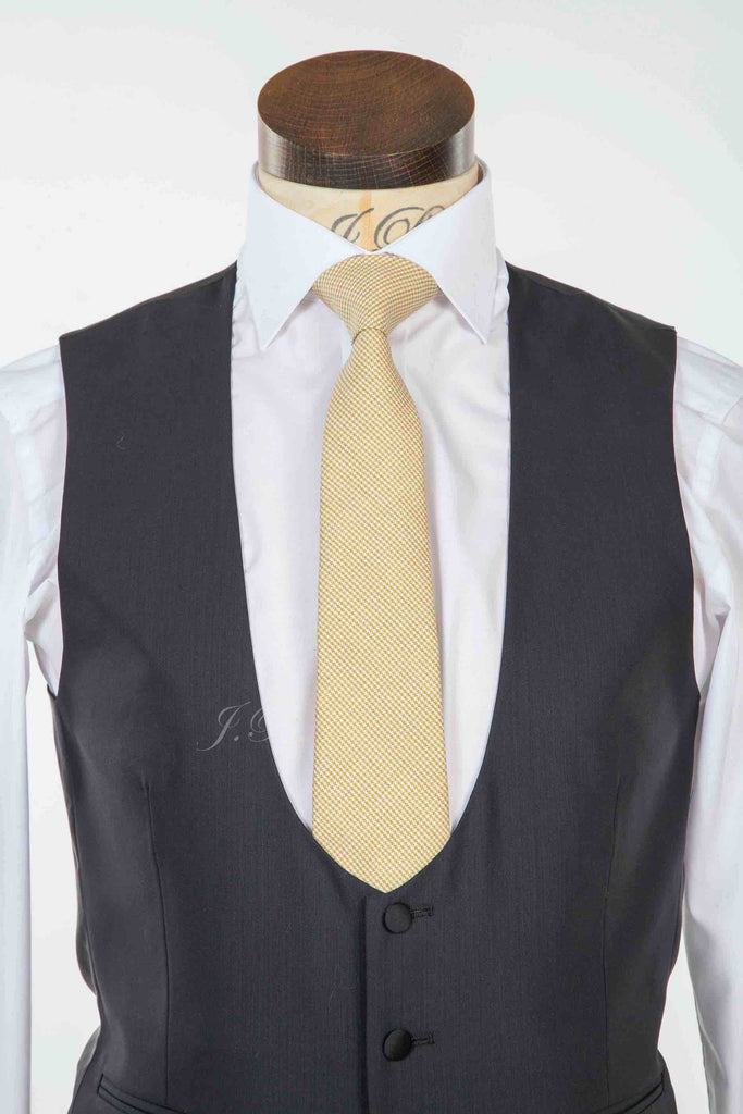 Gold PuppyTooth Tie - Gold Pure Wool Puppy Tooth Neckwear