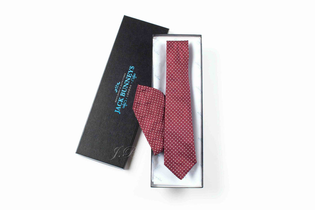 Pure Silk Polka Dot Burgundy Tie - Pure Silk Polka Dot Neckwear