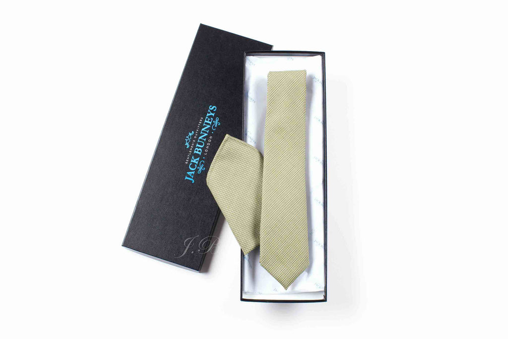 Sage Green PuppyTooth Tie - Sage Green Pure Wool Puppy Tooth Neckwear