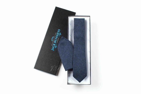 Navy Donegal Tweed Tie - Fine Lambswool from Abraham Moon Mill