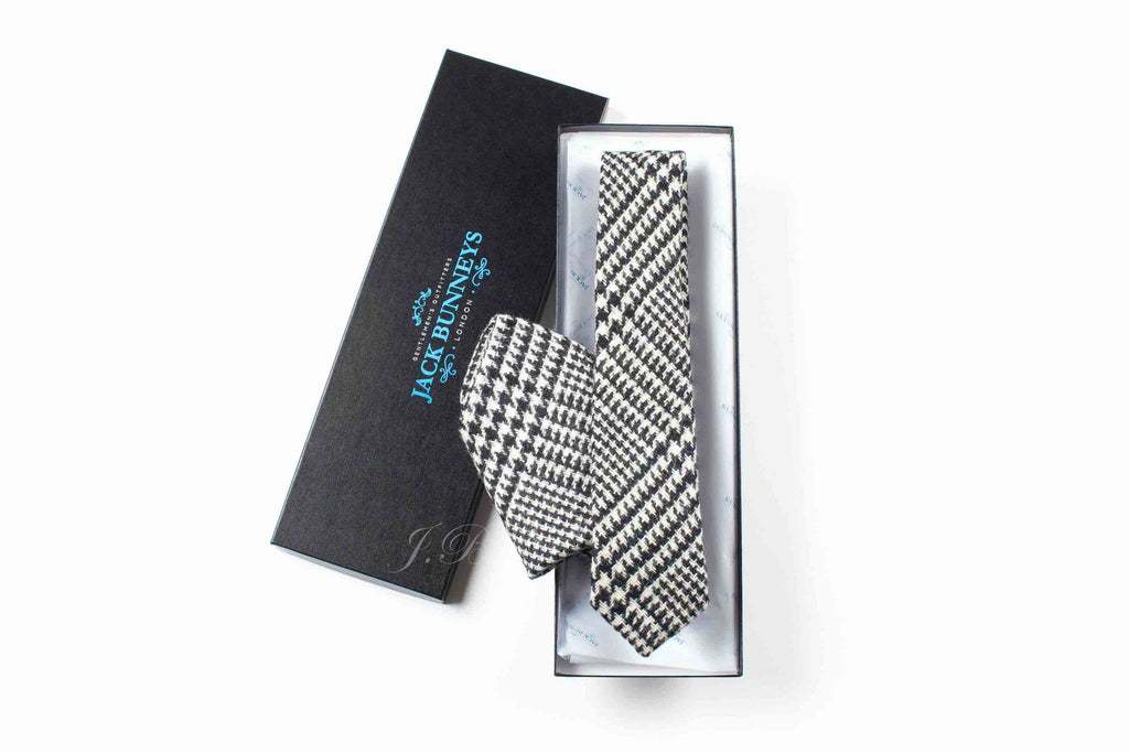 Black and White Glen Check Tweed Tie - Handwoven Abraham Moon & Sons Glen Check Tweed Neckwear