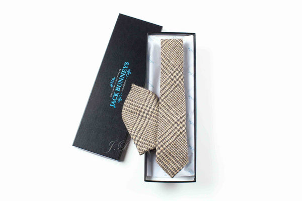 Brown Glen Check Tweed Tie - Handwoven Abraham Moon & Sons Glen Check Tweed Neckwear