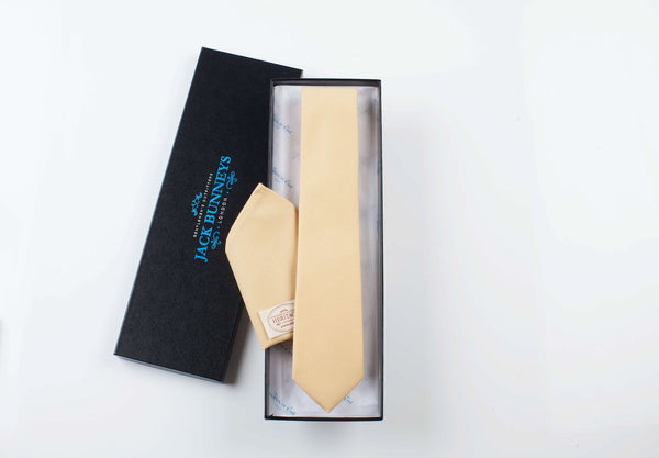 Heritage Collection Tie - Fox Brothers Queens Award Flannel Wool Tie - Light Gold