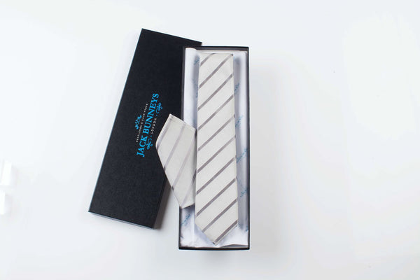 Silk and Cotton Striped Wedding Tie - Grey and Silver