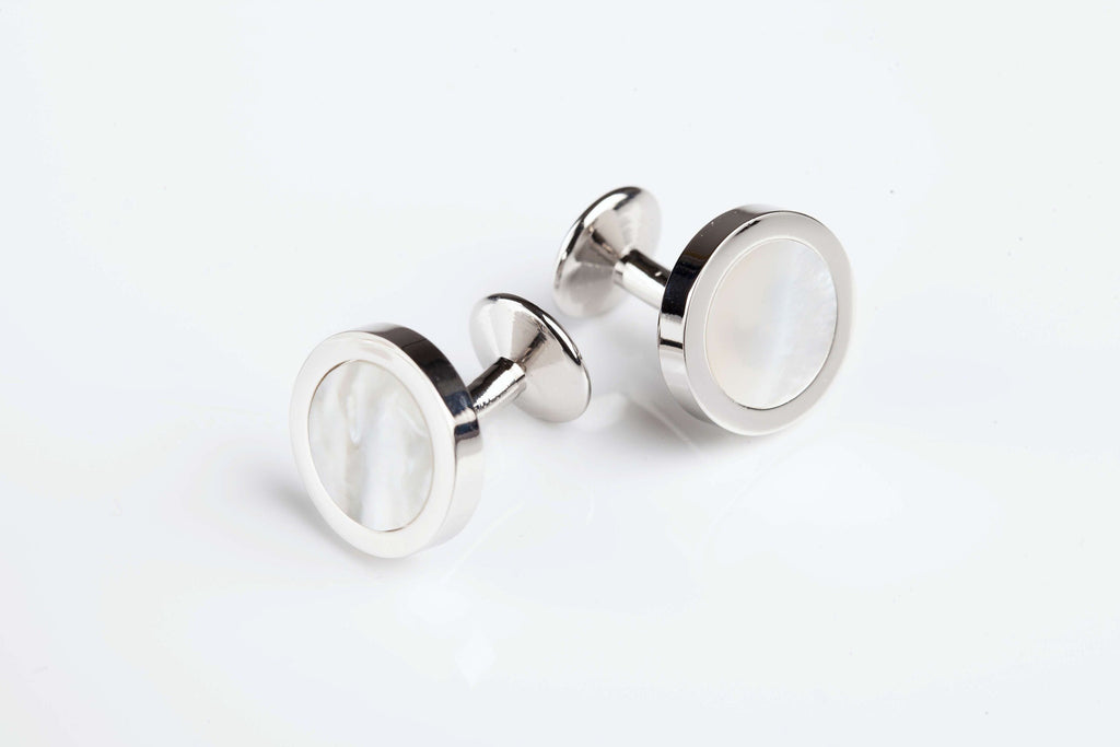Jack Bunney - Rhodium Plate - Luxury Mother of Pearl Cufflinks