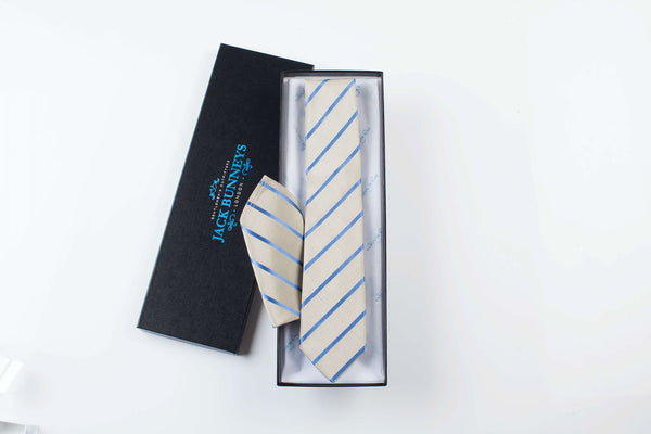 Silk and Cotton Striped Wedding Tie - Buff and Blue