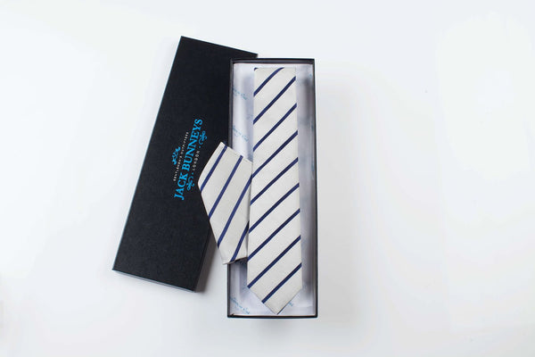 Silk and Cotton Striped Wedding Tie - Grey and Navy