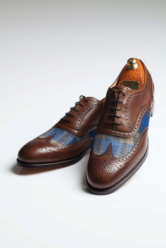 Limited Edition Hand Made Leather Shoes with Sherry Tweed Cloth