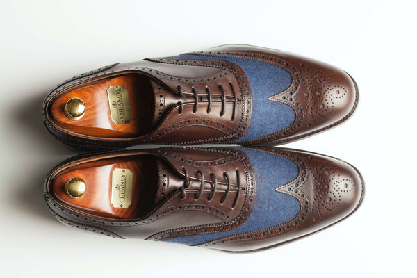 Limited Edition Hand Made Leather Shoes with Blue Flannel Cloth