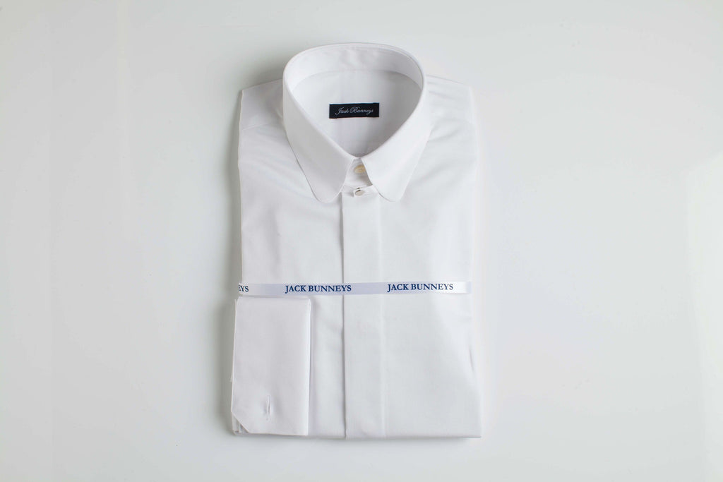 Tab Collar White Shirt - 100% Non Iron Cotton - Slim Fit Double Cuff