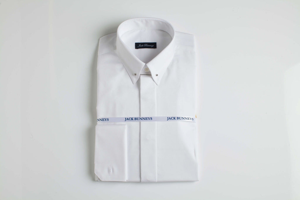 Bar Through Collar White Shirt - 100% Non Iron Cotton - Slim Fit Double Cuff