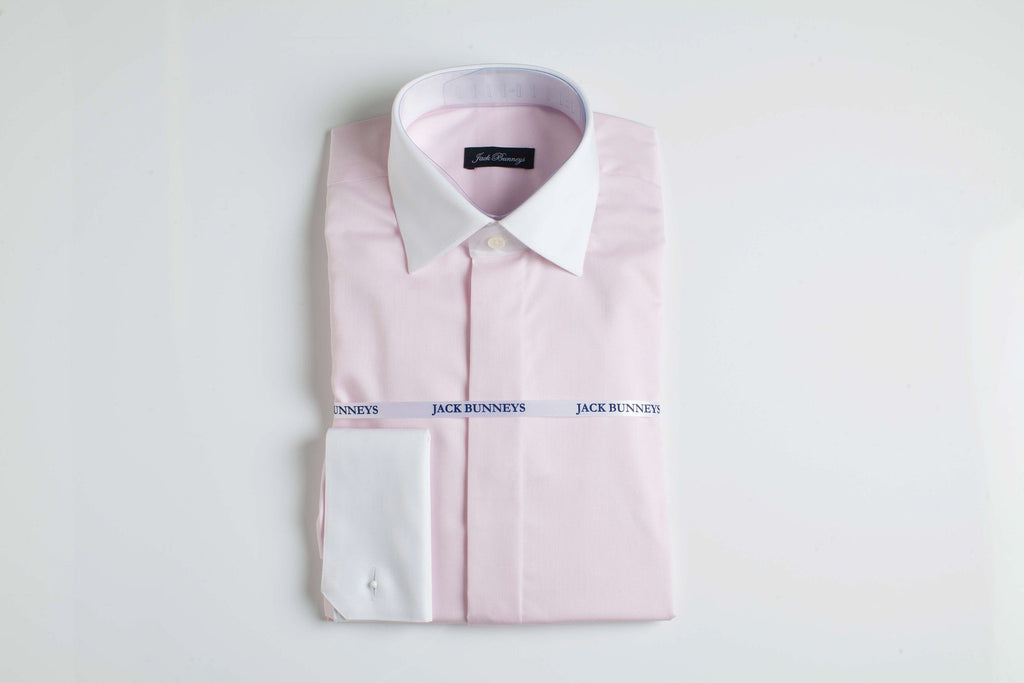 Pink White Collar & Cuff Shirt - 100% Non Iron Cotton - Slim Fit Double Cuff