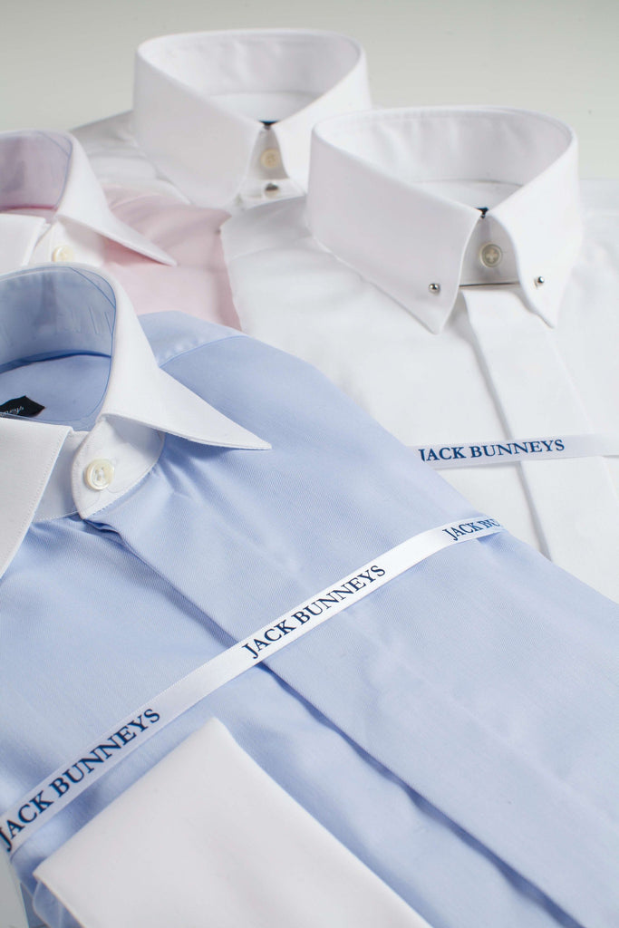 Blue White Collar & Cuff Shirt - 100% Non Iron Cotton - Slim Fit Double Cuff