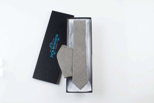 Black PuppyTooth Tie - Black Pure Wool Puppy Tooth Neckwear