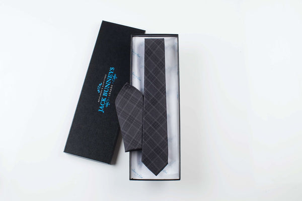 Fine and Dandy Grey Tie - Silk and Wool Check Neckwear